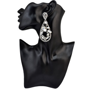 E-3967 High Quality Fashion 4 colors silver plated alloy geometry shape inlay crystal rhinestone shiny luxury big dangle drop earrings women & girls jewelry