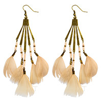 E-3970 Bohemian Antique Bronze Resin Beaded Feather Tassel Dangle Long Earrings For Women Jewelry