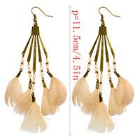 E-3970 Bohemian Antique Bronze Resin Beaded Feather Tassel Dangle Long Earrings For Women Jewelry