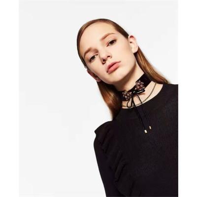 N-6654 2 Pcs/Set Fashion Black Khaki Velvet Chain Crystal Rhinestone Flower Shape Bow Knot Choker Short Clavicle Necklace Women & Girls Jewelry
