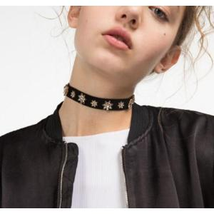 N-6497  Women Black Retro Velvet  Crystal Collars Necklace Choker Short Clavicle Chain