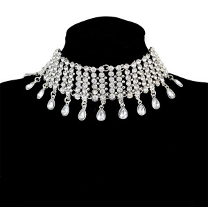 N-6652 Fashion Luxury Silver Plated Alloy Inlay Crystal Rhinestone Water Drop Shape Tassel Chokers Bib Collar Shiny Elegant Women Necklaces