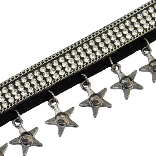 N-6659 Vintage Red Black Leather Star Pendant Rhinestones Crystal Choker Collar  Necklace for Women Jewelry