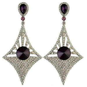 E-3973-GR * Generous Big Long Drop Earrings Crystal Diamond Design Dangle Zircon Stud Earring 5 Colors