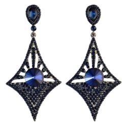 E-3973-GR * Generous Big Long Drop Earrings Crystal Diamond Design Dangle Zircon Stud Earring 5 Colors