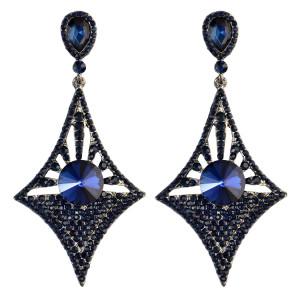 E-3973 Generous Big Long Drop Earrings Crystal Diamond Design Dangle Zircon Stud Earring 5 Colors
