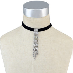 N-6666 Gold Silver Velvet Crystal Rhinestone Pendant Chain Choker Short Clavicle Necklace Women & Girls Jewelry