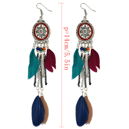 E-3972 Vintage Retro Boho Ethnic Style Silver Plated Alloy Chain Tassel Dangle Earrings Black Colorful Feather Fringe Drop Long Earrings Women Jewelry