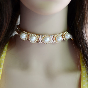 N-6663 Vintage Gold  Choker Chain Pearl Inlay Necklace For Women Jewelry