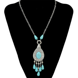 N-6661 Vintage Tibetan Silver Plated Alloy Big Water drop Shape Turquoise Beads Tassel Pendant Long Necklaces Women Girls Jewelry