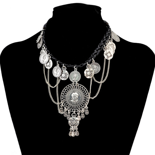 N-6669 Vintage  Silver Plated Leather Alloy Round Portrait  Tassel Pendant Long Necklaces Women Girls Jewelry