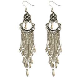 E-3974 Retro Silver Plated Long Chain Pendants Tassels Chain Drop Dangle Earring for Women