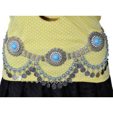 N-6675 * NBohemain Fashion Gypsy Silver Plated Alloy Coin Tassel Blue Resin Beads Belly Body Chain Waist Chain Body Jewelry