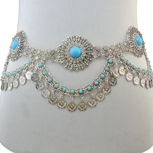 N-6675 NBohemain Fashion Gypsy Silver Plated Alloy Coin Tassel Blue Resin Beads Belly Body Chain Waist Chain Body Jewelry