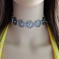 N-6678 Bohemian Vintage Silver Choker Necklace Carved Flower Necklaces Women & Girls Jewelry
