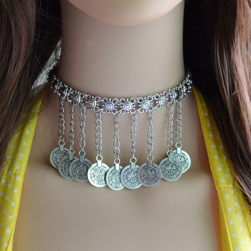 N-6676 Bohemian  Vintage Chain Choker Silver Plated Coin Pendant Necklace for Women Jewerly