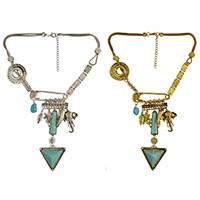N-6682 Bohemian Tibetan Alloy Geometric Shape Elephant Multiple Elements Tassel Pendant Long Necklaces Women Jewelry