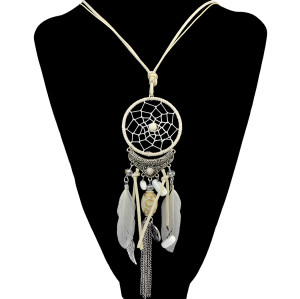 N-6679 4 Colors Fashion Feather Leather Resin Beads Dream Catcher Alloy Wings Chain Tassel Pendant Long Necklace Earrings Sets Women Jewelry Sets E-3977