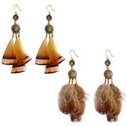 E-3978 Fashion Bohemian Vintage Brown Orange Long Feather Tassel Drop Stud Earring for Women