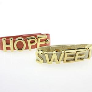 B-0832 Unique Design Punk Style 3 Styles PU Leather Chain Letter Love Hope Sweet Bracelet