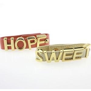 B-0832 Unique Design Punk Style 3 Styles PU Leather Chain Letter Love Hope Sweet Bracelet