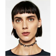 N-6684 Bohemian Bow-tie Design  Neck Strap Pearl Rhinestone Choker Necklace Collar Clavicle Chain