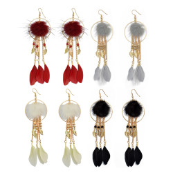 E-3981 Feather Drop Dangle Earring  Chains Pendant Long Tassel Earrings for Women