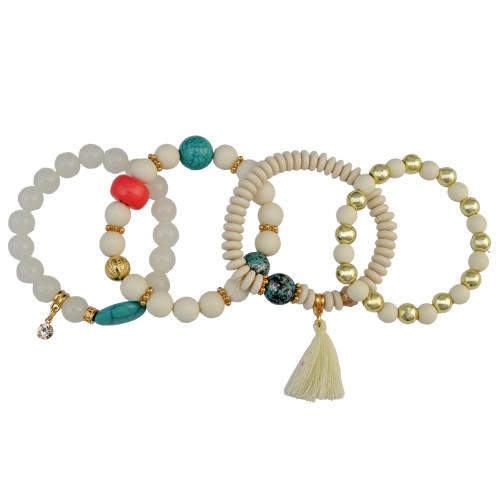 B-0840 4 Pcs/set Handmade Strength Beaded Bracelet Energy Waist Bracelet 5 Colors
