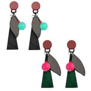 E-3987 Multicolor Acylic Ball Drop Earring New Fashon Long Black Leather Charm Leaf Dangle Earrings for Women
