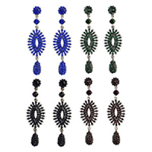 E-3985 5 Colors Luxury Drop Earring Inlay Crystal Rhinestone Design Dangle Long Earrings For Women Jewelry