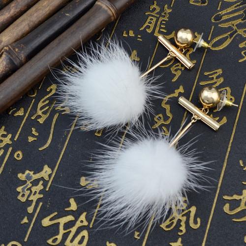 E-3983 Fashion Cute white Plush Ball Gold Plated Alloy Dangle Drop Earrings For Women & Girls Jewelry