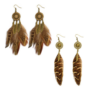 E-3993 2 Design Vintage Bronze tone Feather Dangle Drop Earrings for Women & Girls Jewelry
