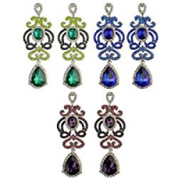 E-3992 3 Colors Luxury Drop Earring Inlay Crystal Rhinestone Waterdrop Shape Dangle Long Earrings For Women Jewelry