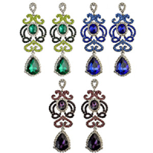 E-3992 3 Colors Luxury Drop Earring Inlay Crystal Rhinestone Waterdrop Shape Dangle Long Earrings For Women Jewelry
