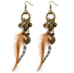 E-3990 Bohemian Feather Earrings Exaggerated Long Skull Pendant Drop Earring Punk Style