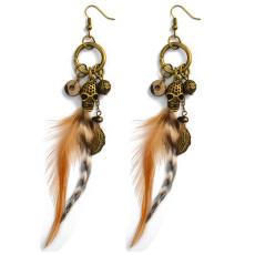 E-3990 Bohemian Feather Earrings Exaggerated Long Skull Pendant Drop Earring Punk Style