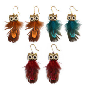 E-3991 4 Colors Bohemian Feather Owl Pendant Drop Earring Punk Style