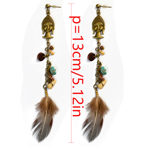 E-3995 Bohemian Vintage Bronze Feather Earrings Exaggerated Turquoise Dangle Drop Earring for Women Jeweley