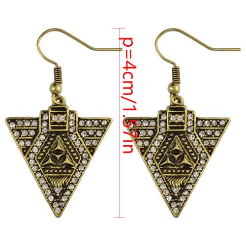 E-4004 Vintage Gold Silver Plated Trangle Hook Earrings Ethnic Rhinestone Dangle Drop Earring for Women Jeweley
