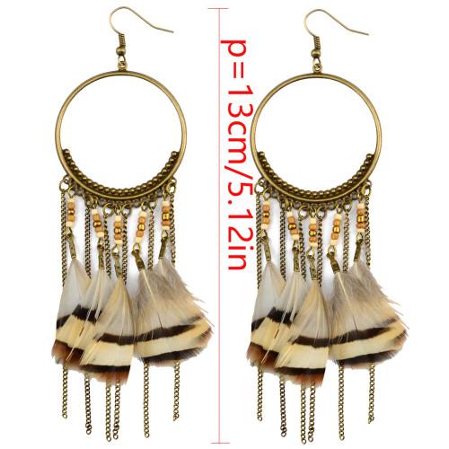 E-3999 Bohemian Fashion Bronze Feather Earrings  Dangle Drop Earring for Women Jeweley
