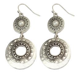 E-3997 Retro Silver Texture Exaggeration Imitation Pearl Drop Dangle Earring for Women