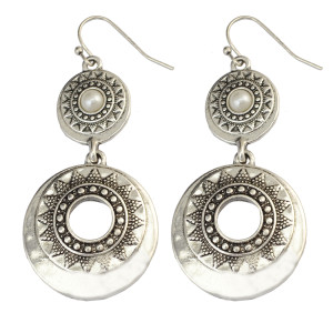 E-3997 Retro Silver Texture Exaggeration Imitation Pearl Drop Dangle Earring for Women