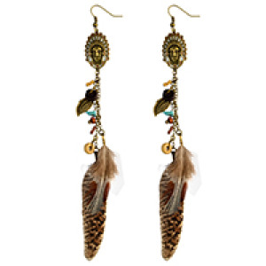 E-3996 Indian Bohemian Antique Bronze Natural Stone Metal Leaf Feather Tassel Long Earrings For Women Jewelry