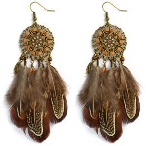 E-3998 Bohemian National Wind Long Personality Retro Drop Dangle Long Tassel Feather Hook Earring for Women
