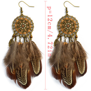 E-3998 Bohemian National Wind Long Personality Retro Drop Dangle Long Tassel Feather Hook Earring for Women