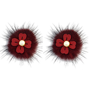 E-4005 Korea Fashion Boho Faux Fur Pearl Flower Ear Stud Earrings for Women Jewelry