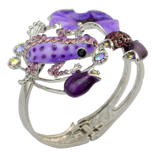 B-0429 Vintage Lady Bangle Silver Plated Rhinestone Flower Fashion National Style Enamel Glaze Frog Cuff Bangle Bracelet For Women