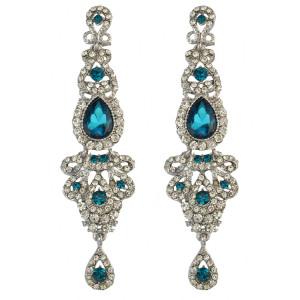 E-3421  2015 New Luxury Purple Black Crystal Silver Plated Bridal Earrings Imitation Gemstone Jewelry Long Earrings for Women