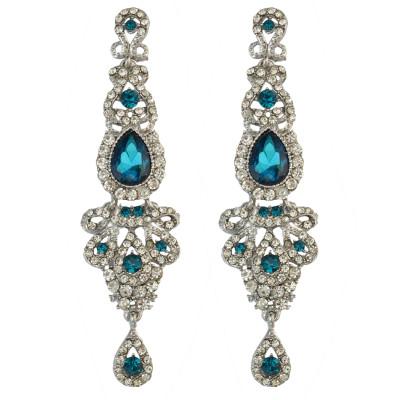 E-3421 New Luxury Purple Black Crystal Silver Plated Bridal Earrings Imitation Gemstone Jewelry Long Earrings for Women