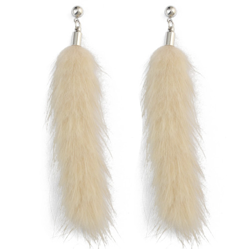 E-4008 Fashion Bohemian Vintage Bronze White Black Plush Tassel Drop  Stud Earring for Women